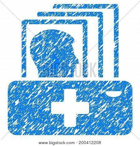 Grunge Patient Catalog icon with grunge design and dust texture. Unclean vector blue pictogram for rubber seal stamp imitations and watermarks. Draft sign symbol.