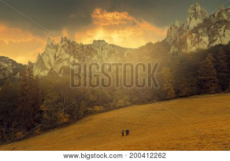 Cloudy and sunny sunset with sun ray, Strazovske mountains, Slovakia