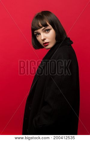 Closed girl. Female introvert problems. Beautiful and shy woman, pretty and scared model, aloofness concept