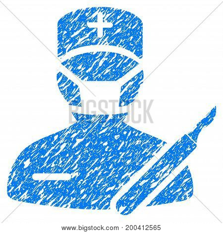 Grunge Surgeon icon with grunge design and scratched texture. Unclean vector blue pictogram for rubber seal stamp imitations and watermarks. Draft emblem symbol.
