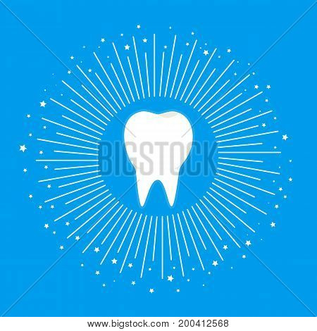Flat white shiny clean health tooth with white beams and stars symbol. Dentist clean teeth icon. Personal and medicine dental hygiene sign