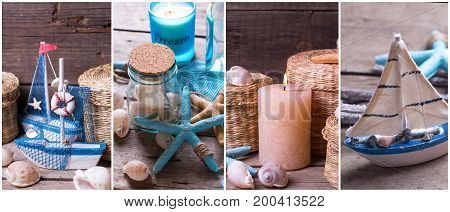Summer on the sea site header. Collage from photos with ocean or coastal living decorations. Decorative wooden boats star fishes bottle with ocean treasures candle on aged wooden background.