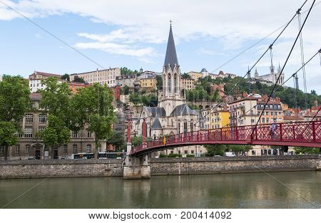 Church of St George and Pont Passerelle , Lyon