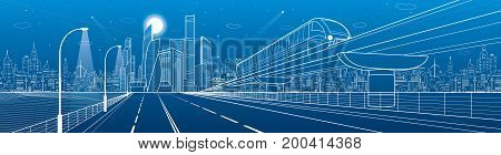 City infrastructure transport panorama. Monorail railway. Train move over flyover. Modern night city. Airplane fly. Towers and skyscrapers. White lines on blue background, vector design art poster