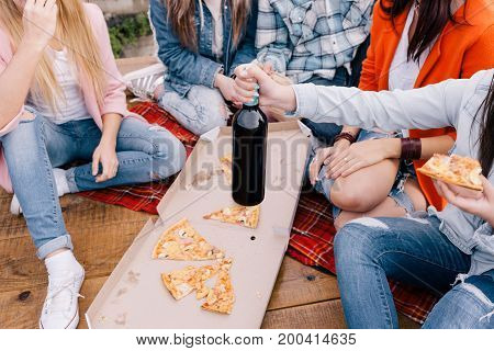 Happy celebration with junk food. Bad habits, pizza and alcohol. Fun friendship party outdoors