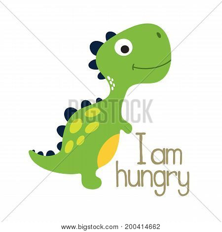 Cute cartoon dino illustration. I am hungry