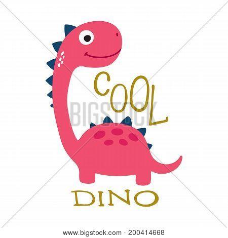 Cute cartoon dino vector illustration. Cool dino