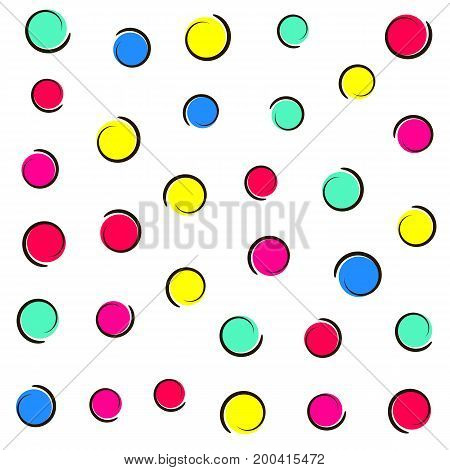 Pop art colorful confetti background. Colored spots and circles on white background with ink curves. Vector illustration.