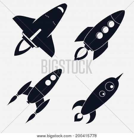 Rocket ships Set, Spaceship Start Up flat style Set, Space shuttle rocket launch symbol. Vector