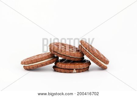 Biscuits with sweet filling on a white background.