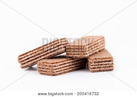 Waffles with sweet filling on a white background.