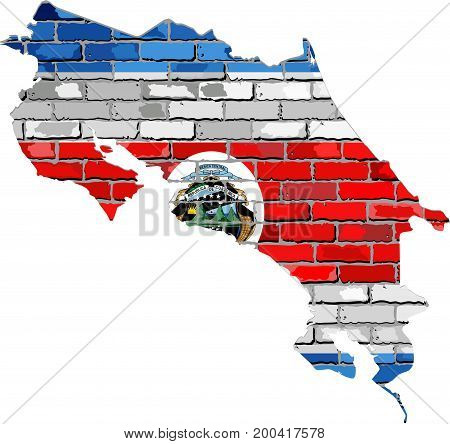 Costa Rica map on a brick wall - Illustration,   Costa Rica map with flag inside
