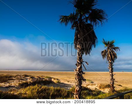 Beach los Lances Tarifa Andalusia Spain Europe. Tarifa is the southmost City of Europe a a famous tourist destination