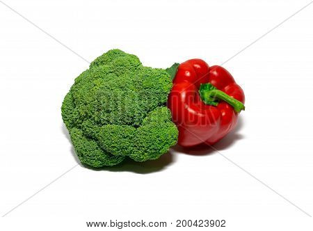 broccoli and red bell pepper isolated on white background. food object.