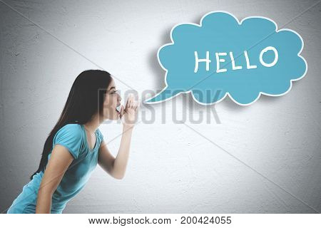 Picture of Asian woman whispering word of hello on the bubble cloud