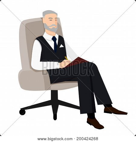 Psychoanalyst sitting in chair and doing remarks on survey
