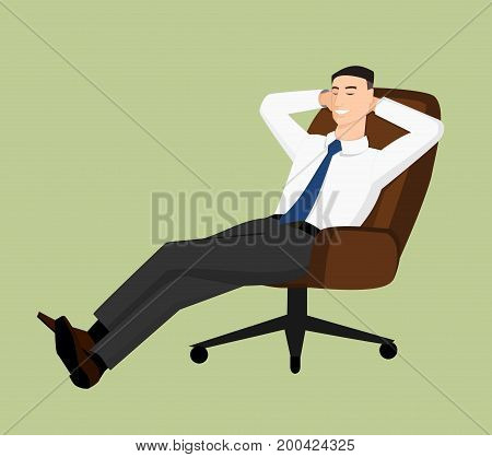 Businessman sitting in office chair and smiling