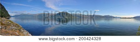 Panoramic view of Hardangerfjord in Norway, Scandinavia
