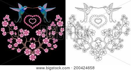 Embroidery design. Collection of fancywork elements for patches and stickers. Coloring book page with two hummingbirds and cherry blossom.