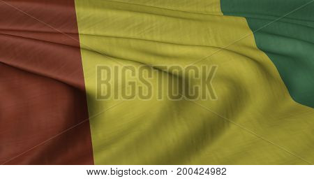 3D illustration of Guinea flag fluttering in light breeze