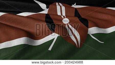 3D illustration of Kenyan flag fluttering in light breeze