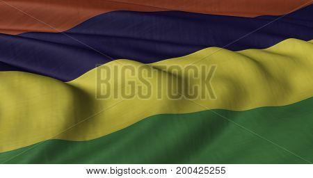 3D illustration of Mauritian flag fluttering in light breeze