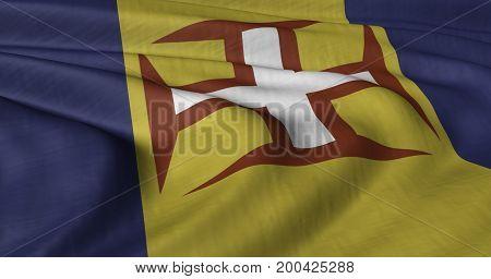 3D illustration of Madeira flag fluttering in light breeze