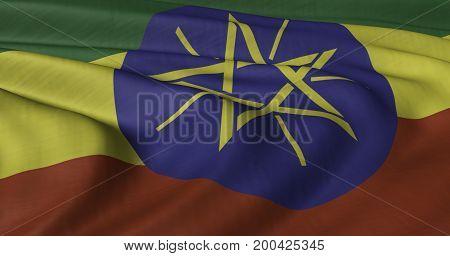 3D illustration of Ethiopian flag fluttering in light breeze