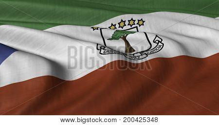 3D illustration of Equatorial Guinea flag fluttering in light breeze