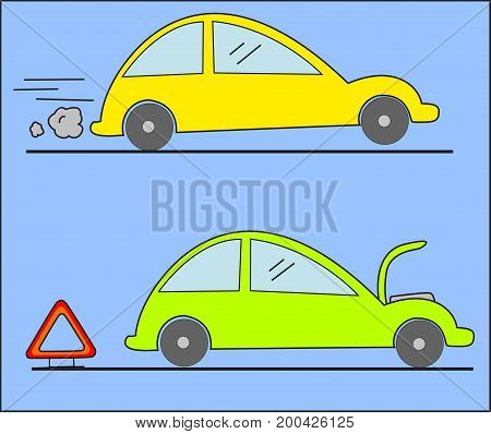 Warning triangle and car breakdown - illustration