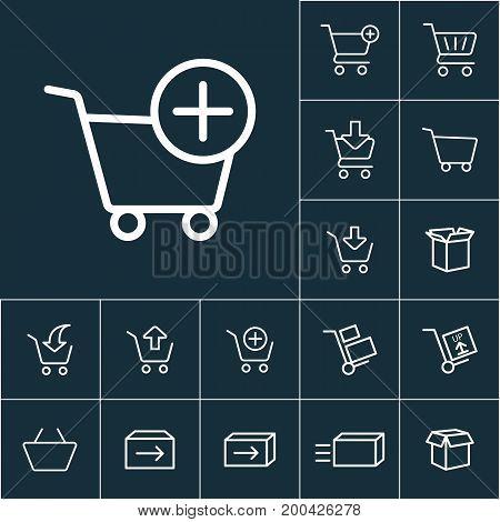 Thin Line Supermarket Trolley Add Icon, Online Shopping Set