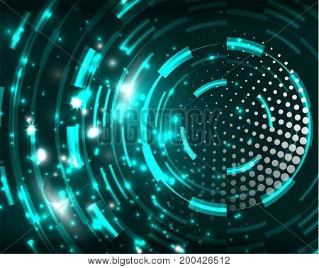 Neon blue circles abstract pattern background