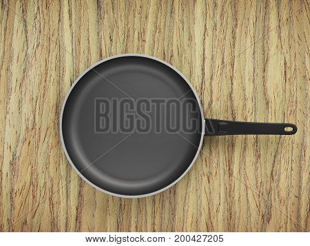 Top View Empty Pan On Table Background