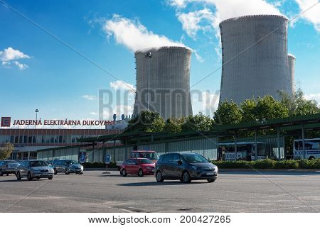 Dukovany Czech Republic - July 7 2017 : Parking space before entering the nuclear power station Dukovany on July 7 2017 in Dukovany Czech Republic