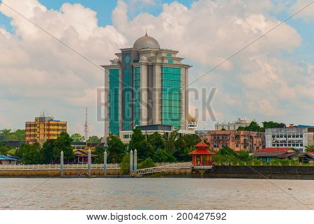 Landscape View Of The City And Sarawak River.kuching, Borneo, Malaysia