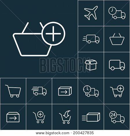 Thin Line Market Basket Icon, Online Shopping Set