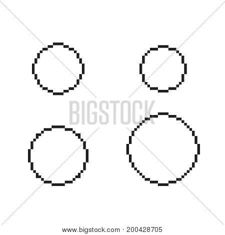 pixel circles set  pixel round template square circle