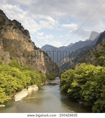 View of the mountains and the river Aoos in the evening light (Epirus region, Greece)