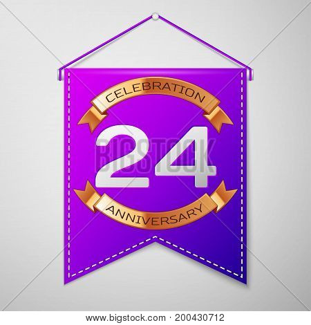 Realistic Purple pennant with inscription Twenty four Years Anniversary Celebration Design on grey background. Golden ribbon. Colorful template elements for your birthday party. Vector illustration