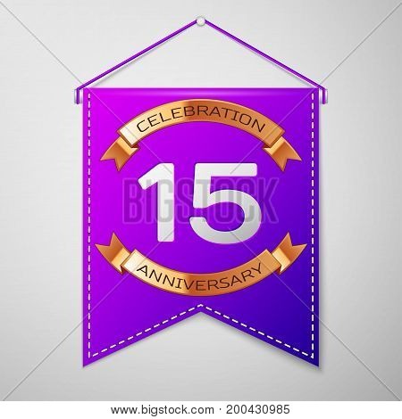 Realistic Purple pennant with inscription Fifteen Years Anniversary Celebration Design on grey background. Golden ribbon. Colorful template elements for your birthday party. Vector illustration