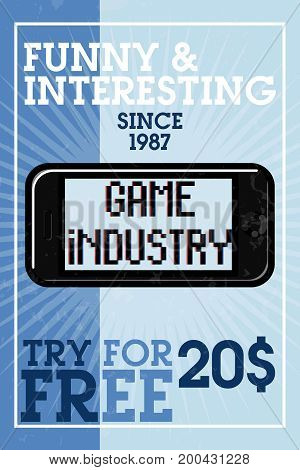 Color vintage game industry banner. Vector illustration, EPS 10
