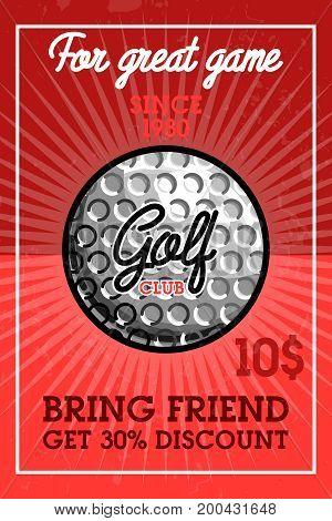 Color vintage golf club banner. Golf championship, golf gear and equipment badge logo. Vector illustration, EPS 10