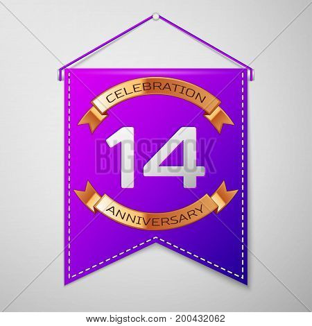 Realistic Purple pennant with inscription Fourteen Years Anniversary Celebration Design on grey background. Golden ribbon. Colorful template elements for your birthday party. Vector illustration