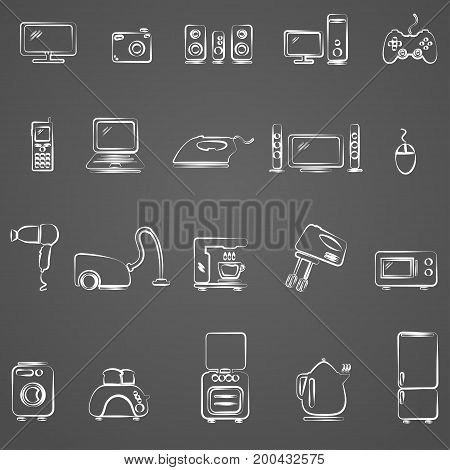Home appliances. Drawing icons set. Vector eps 10