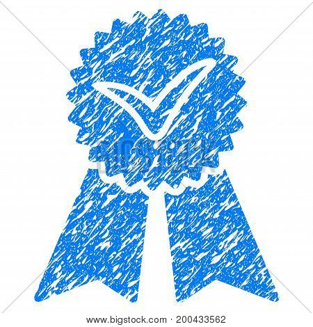 Grunge Approvement icon with grunge design and unclean texture. Unclean vector blue pictogram for rubber seal stamp imitations and watermarks. Draft sign symbol.