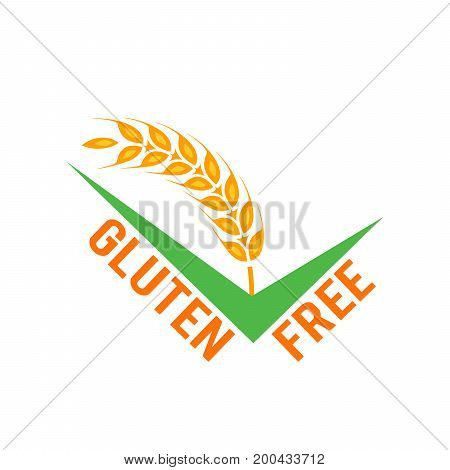 Vector gluten free symbols isolated on white background. Approved sign with wheat.