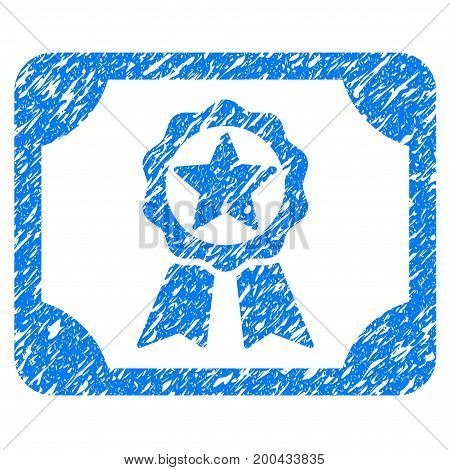 Grunge Award Diploma icon with grunge design and dust texture. Unclean vector blue pictogram for rubber seal stamp imitations and watermarks. Draft sign symbol.