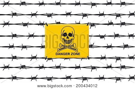 Stop sign danger zone on the barbed wire fence