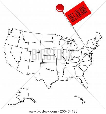 An outline map of USA with a knob pin in the state of Delaware