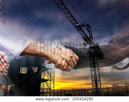 Double Exposture Photo. Business Success Concept. Asian Muslim Businessman And Engineer Woman Making